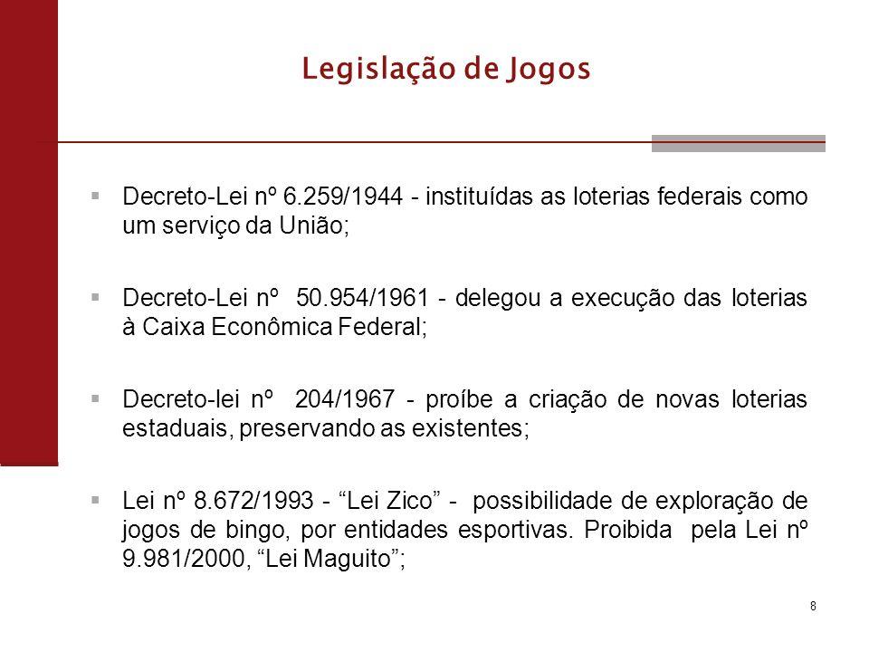 8 Legislação de Jogos Decreto-Lei nº 6.259/1944 - instituídas as loterias federais como um serviço da União; Decreto-Lei nº 50.954/1961 - delegou a execução das loterias à Caixa Econômica Federal; Decreto-lei nº 204/1967 - proíbe a criação de novas loterias estaduais, preservando as existentes; Lei nº 8.672/1993 - Lei Zico - possibilidade de exploração de jogos de bingo, por entidades esportivas.