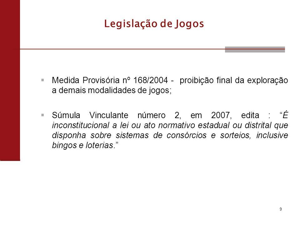 Legalização do Jogo: Tramitam atualmente no Congresso Nacional vários Projetos de Lei (PL) na Comissão de Constituição e Justiça e de Cidadania (CCJC) Buscam tanto a legalização da exploração de jogos, quanto a manutenção de sua proibição.