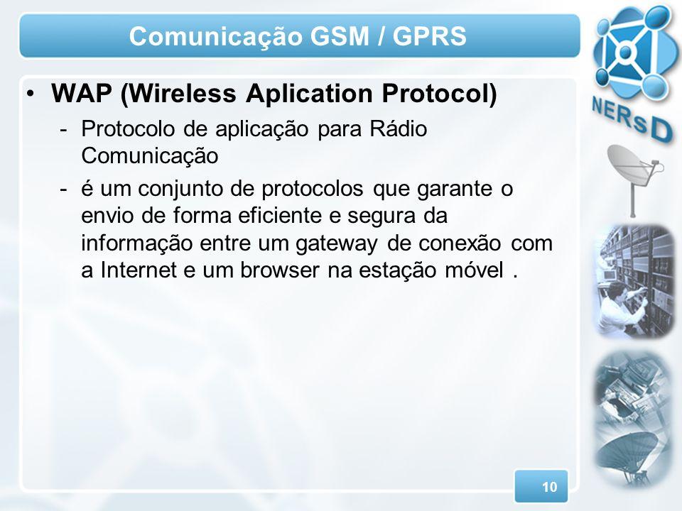 10 Comunicação GSM / GPRS WAP (Wireless Aplication Protocol) -Protocolo de aplicação para Rádio Comunicação -é um conjunto de protocolos que garante o