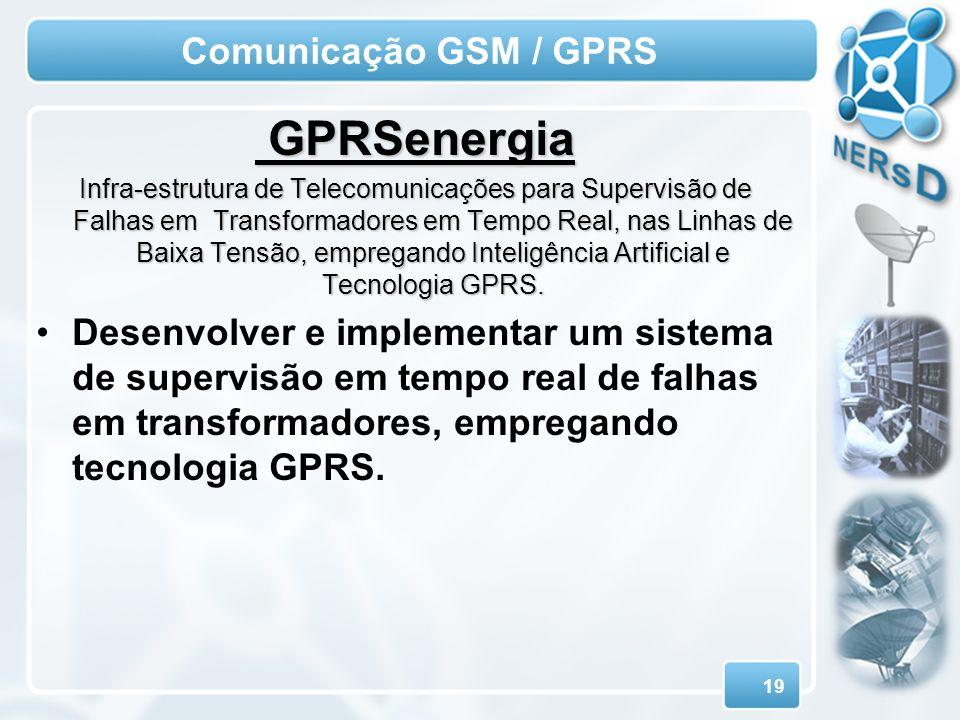 19 Comunicação GSM / GPRS GPRSenergia GPRSenergia Infra-estrutura de Telecomunicações para Supervisão de Falhas em Transformadores em Tempo Real, nas