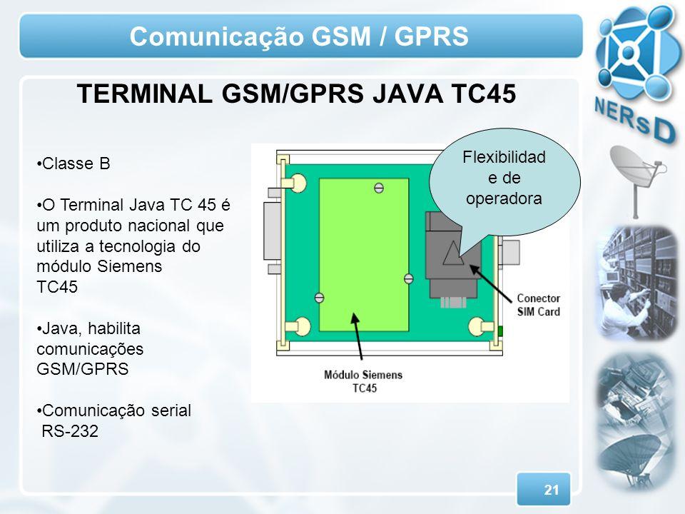 21 Comunicação GSM / GPRS TERMINAL GSM/GPRS JAVA TC45 Classe B O Terminal Java TC 45 é um produto nacional que utiliza a tecnologia do módulo Siemens
