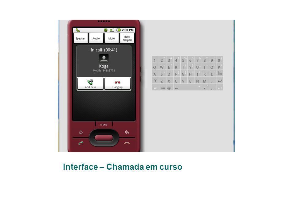 Interface – Chamada em curso