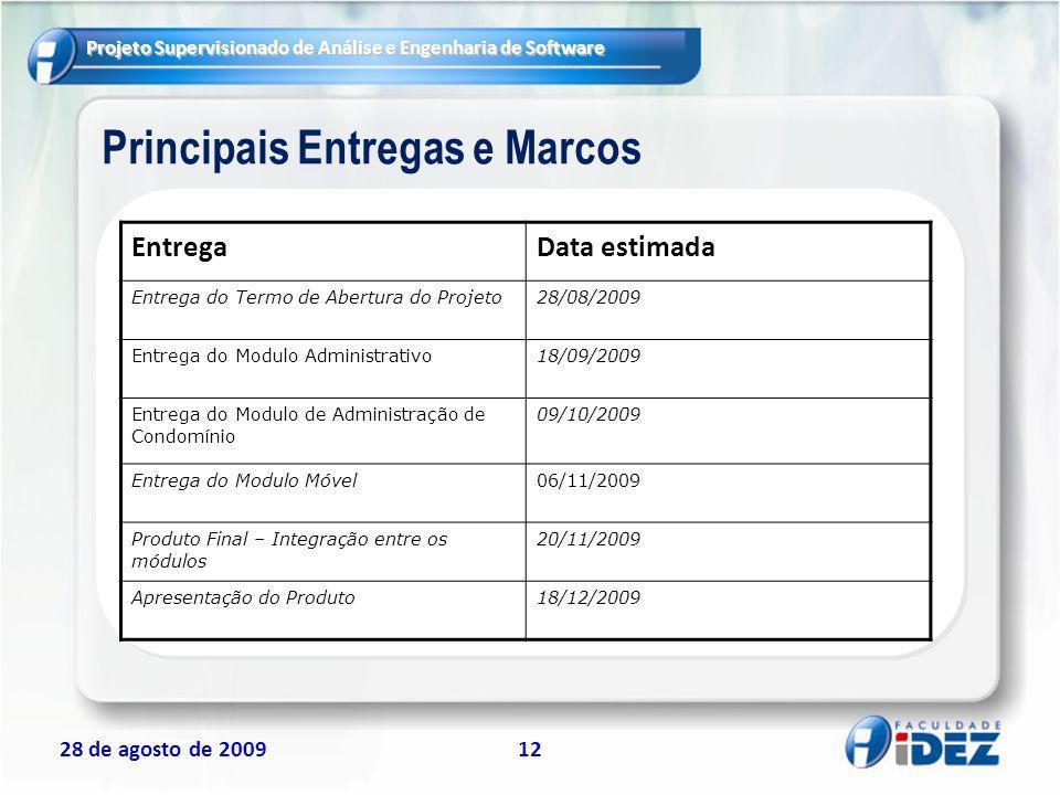 Projeto Supervisionado de Análise e Engenharia de Software 28 de agosto de 200912 Principais Entregas e Marcos EntregaData estimada Entrega do Termo d