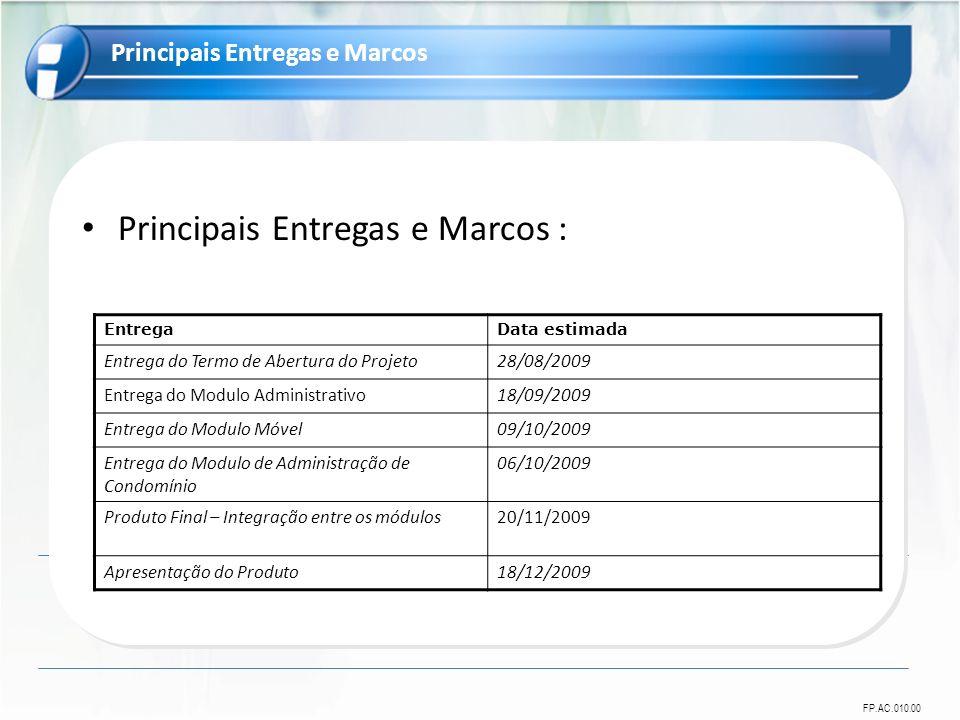 FP.AC.010.00 Principais Entregas e Marcos : Principais Entregas e Marcos EntregaData estimada Entrega do Termo de Abertura do Projeto28/08/2009 Entreg