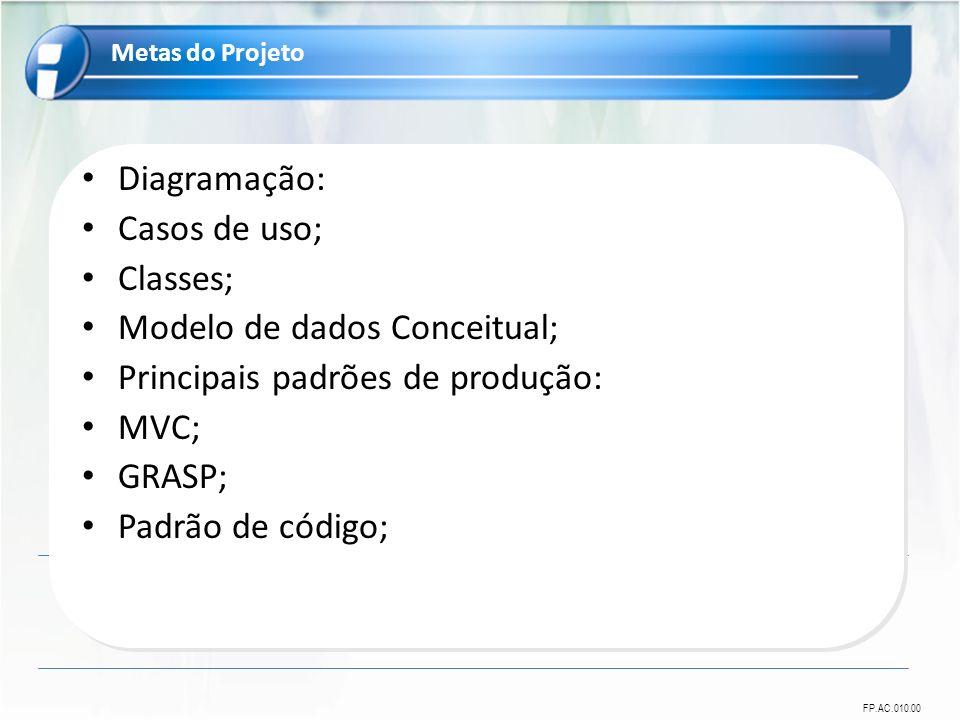 FP.AC.010.00 Diagramação: Casos de uso; Classes; Modelo de dados Conceitual; Principais padrões de produção: MVC; GRASP; Padrão de código; Metas do Projeto