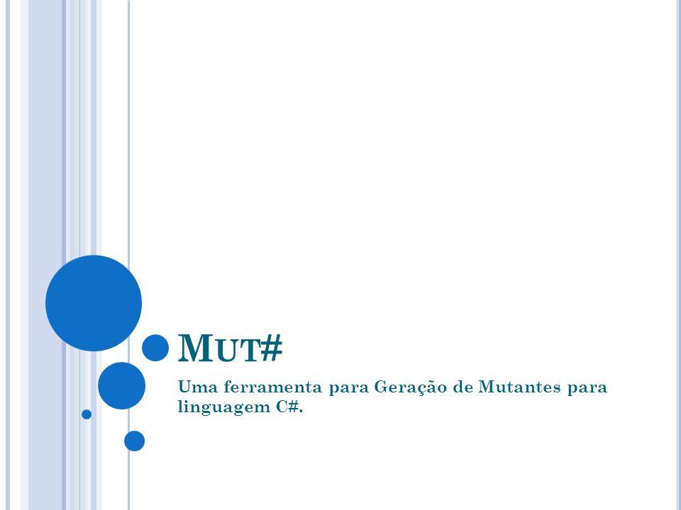M UT # Mutação Clássica. Desenvolvida no Visual Studio 2005. NUnit. Mutação Seletiva.
