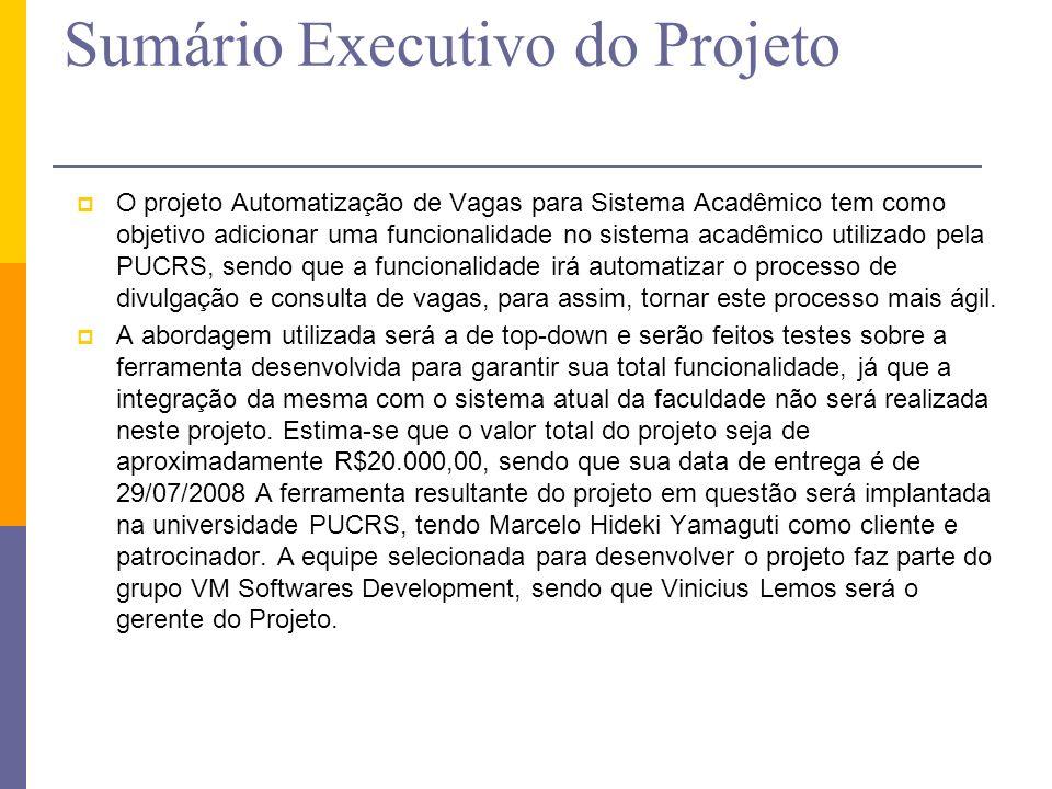 Sumário Executivo do Projeto O projeto Automatização de Vagas para Sistema Acadêmico tem como objetivo adicionar uma funcionalidade no sistema acadêmi
