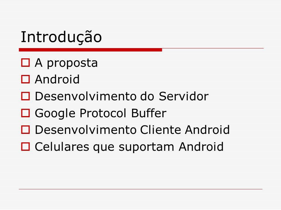 Introdução A proposta Android Desenvolvimento do Servidor Google Protocol Buffer Desenvolvimento Cliente Android Celulares que suportam Android