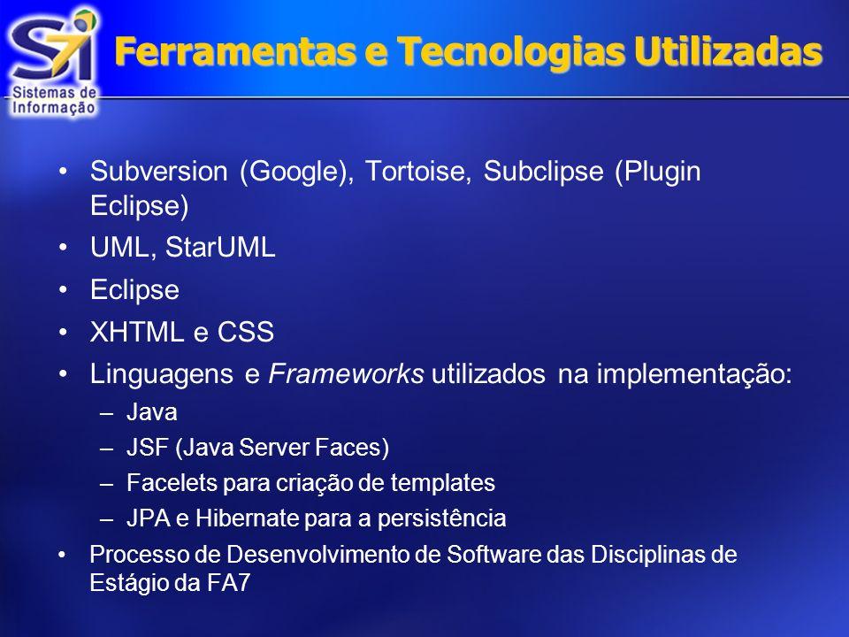 Ferramentas e Tecnologias Utilizadas Subversion (Google), Tortoise, Subclipse (Plugin Eclipse) UML, StarUML Eclipse XHTML e CSS Linguagens e Frameworks utilizados na implementação: –Java –JSF (Java Server Faces) –Facelets para criação de templates –JPA e Hibernate para a persistência Processo de Desenvolvimento de Software das Disciplinas de Estágio da FA7
