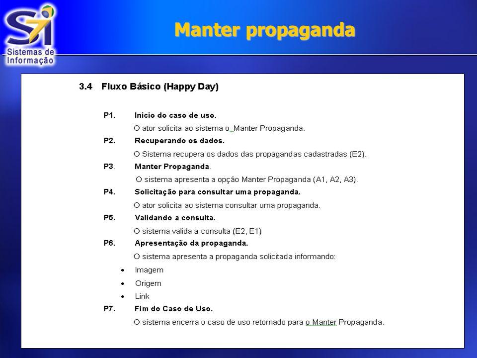Diagrama de Classe Manter propaganda: Diagrama de Classe Manter propaganda:
