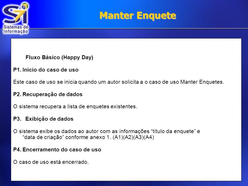 Fluxo Básico (Happy Day) P1.Inicio do caso de uso Este caso de uso se inicia quando um autor solicita a o caso de uso Manter Enquetes. P2.Recuperação