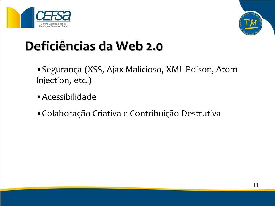 Deficiências da Web 2.0 Segurança (XSS, Ajax Malicioso, XML Poison, Atom Injection, etc.) Acessibilidade Colaboração Criativa e Contribuição Destrutiv