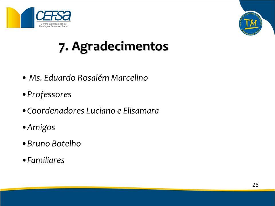 7. Agradecimentos Ms. Eduardo Rosalém Marcelino Professores Coordenadores Luciano e Elisamara Amigos Bruno Botelho Familiares 25