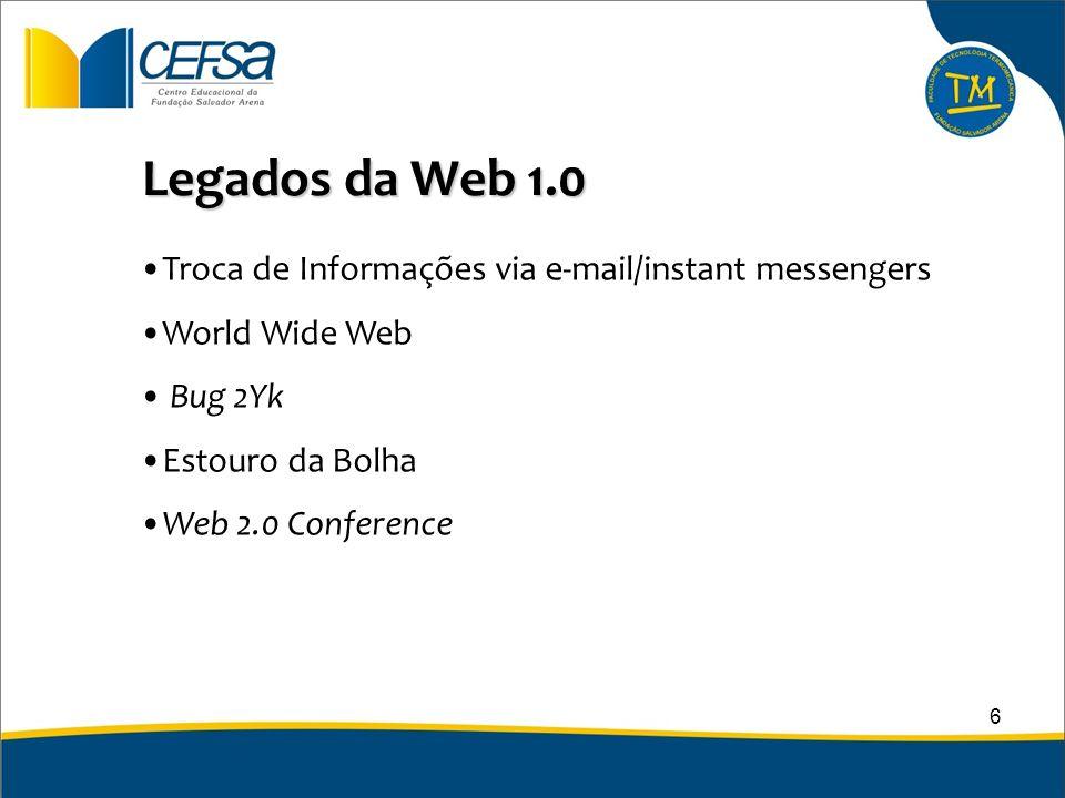 Legados da Web 1.0 Troca de Informações via e-mail/instant messengers World Wide Web Bug 2Yk Estouro da Bolha Web 2.0 Conference 6