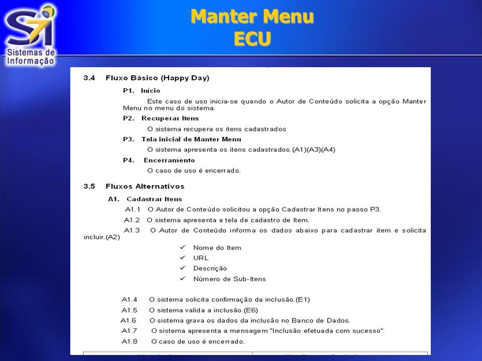 Manter Menu ECU