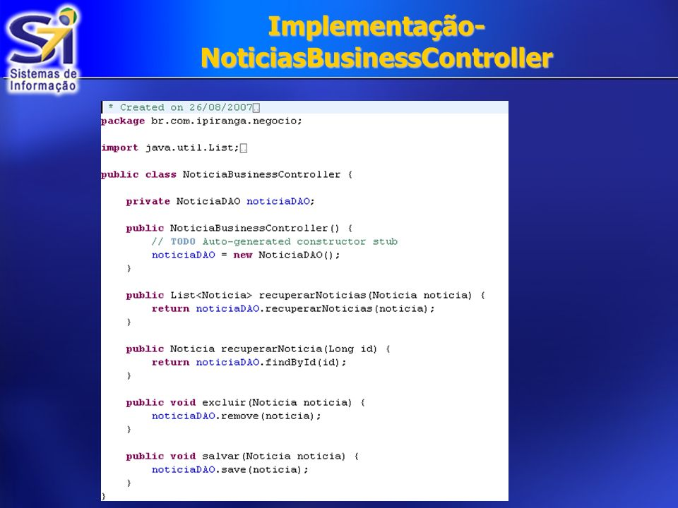 Implementação- NoticiasBusinessController