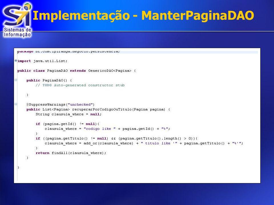 Implementação - ManterPaginaDAO