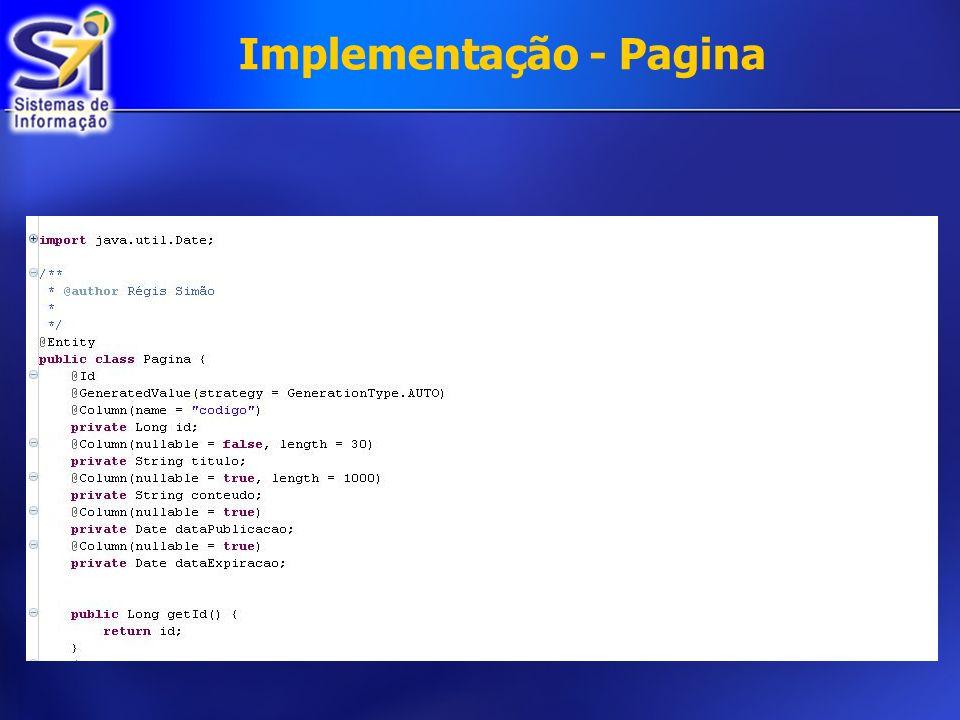 Implementação - Pagina