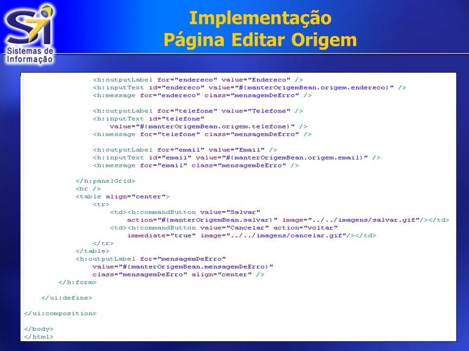 Implementação Página Editar Origem