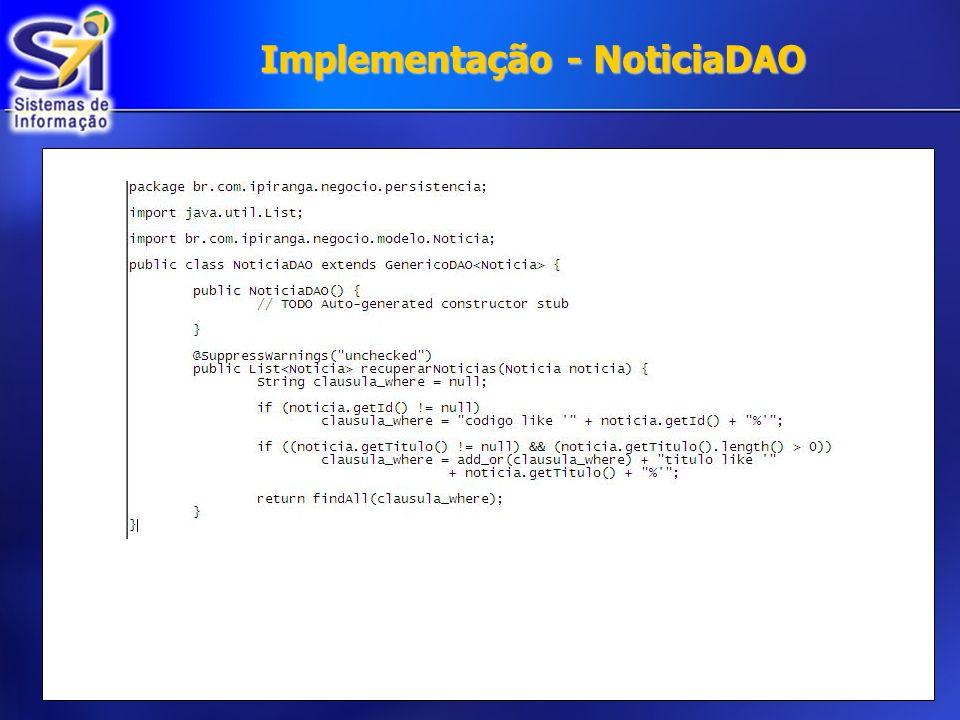 Implementação - NoticiaDAO