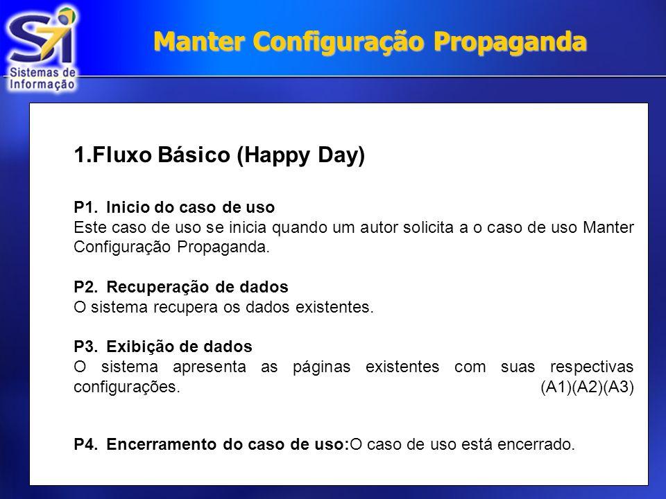 Manter Configuração Propaganda 1.Fluxo Básico (Happy Day) P1.Inicio do caso de uso Este caso de uso se inicia quando um autor solicita a o caso de uso