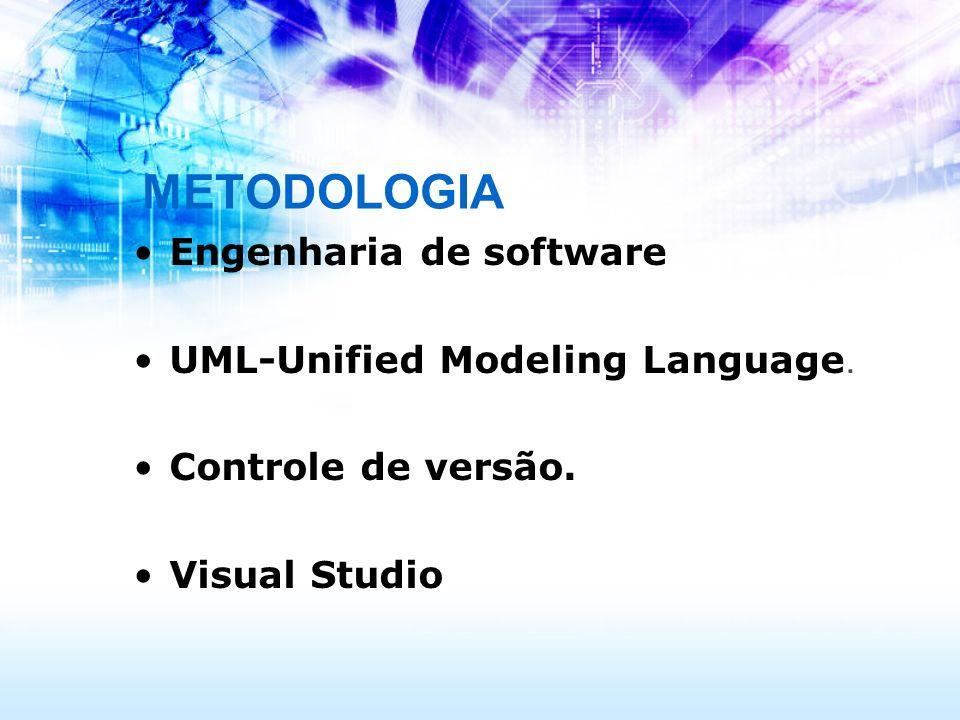 METODOLOGIA Engenharia de software UML-Unified Modeling Language. Controle de versão. Visual Studio
