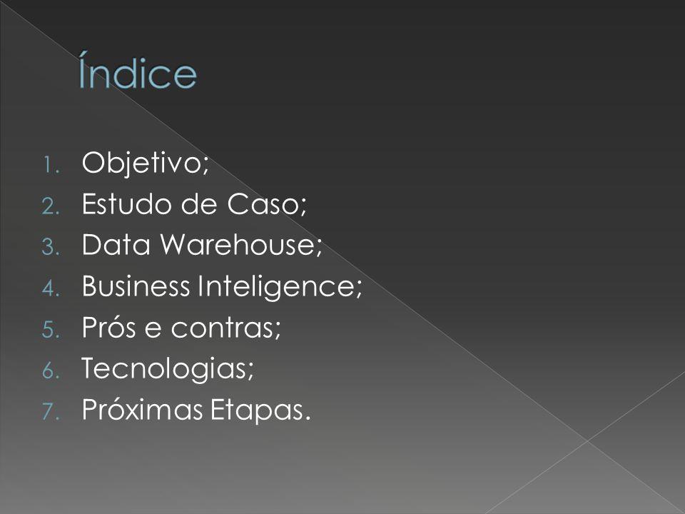 1. Objetivo; 2. Estudo de Caso; 3. Data Warehouse; 4. Business Inteligence; 5. Prós e contras; 6. Tecnologias; 7. Próximas Etapas.