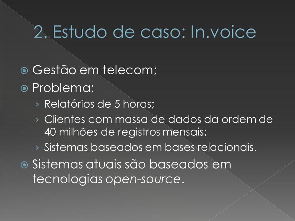 Gestão em telecom; Problema: Relatórios de 5 horas; Clientes com massa de dados da ordem de 40 milhões de registros mensais; Sistemas baseados em base