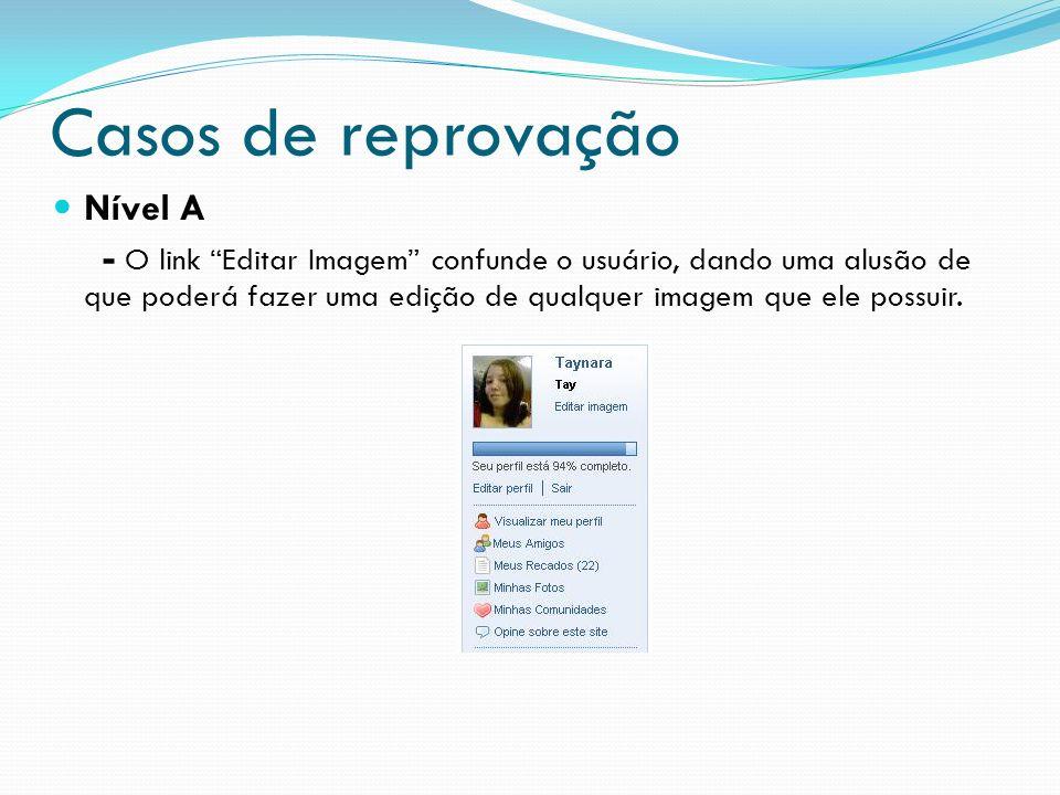 Casos de reprovação Nível A - O link Editar Imagem confunde o usuário, dando uma alusão de que poderá fazer uma edição de qualquer imagem que ele poss