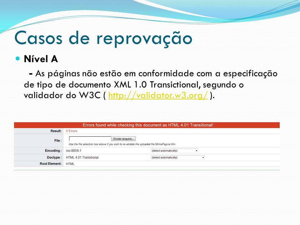 Casos de reprovação Nível A - As páginas não estão em conformidade com a especificação de tipo de documento XML 1.0 Transictional, segundo o validador