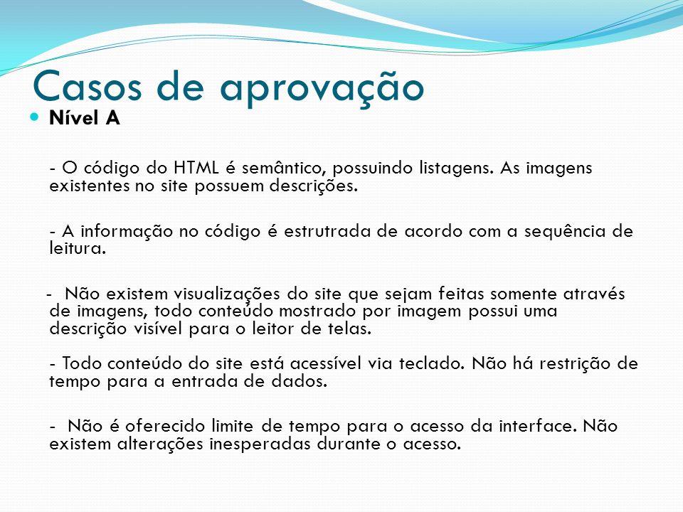 Casos de aprovação Nível A - O código do HTML é semântico, possuindo listagens. As imagens existentes no site possuem descrições. - A informação no có