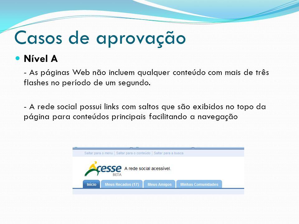 Casos de aprovação Nível A - As páginas Web não incluem qualquer conteúdo com mais de três flashes no período de um segundo. - A rede social possui li