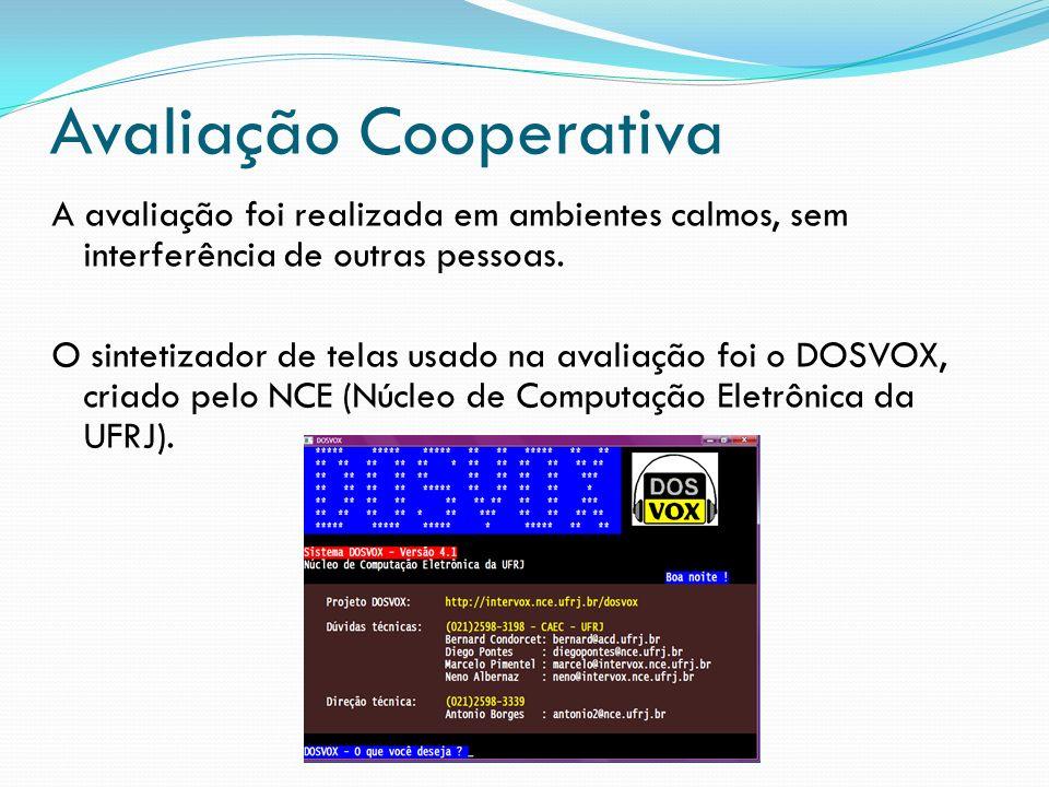 Avaliação Cooperativa A avaliação foi realizada em ambientes calmos, sem interferência de outras pessoas. O sintetizador de telas usado na avaliação f