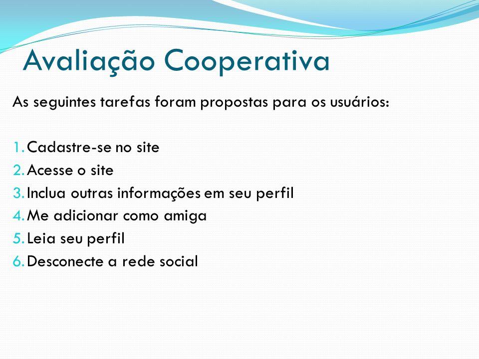 Avaliação Cooperativa As seguintes tarefas foram propostas para os usuários: 1. Cadastre-se no site 2. Acesse o site 3. Inclua outras informações em s