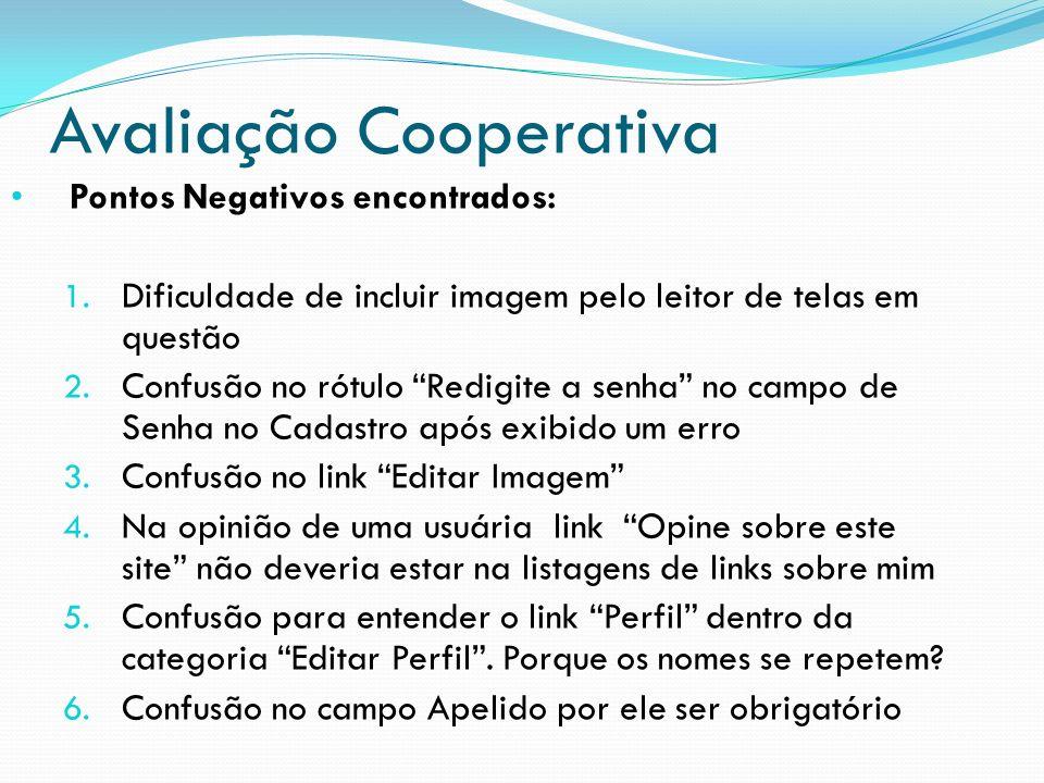 Avaliação Cooperativa Pontos Negativos encontrados: 1. Dificuldade de incluir imagem pelo leitor de telas em questão 2. Confusão no rótulo Redigite a