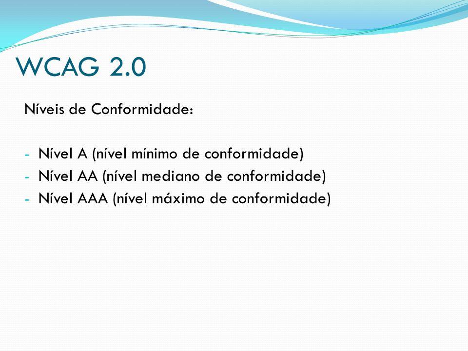 WCAG 2.0 Níveis de Conformidade: - Nível A (nível mínimo de conformidade) - Nível AA (nível mediano de conformidade) - Nível AAA (nível máximo de conf