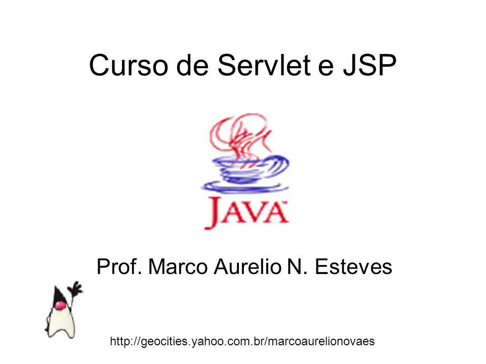 Curso de Servlet e JSP Prof. Marco Aurelio N. Esteves http://geocities.yahoo.com.br/marcoaurelionovaes