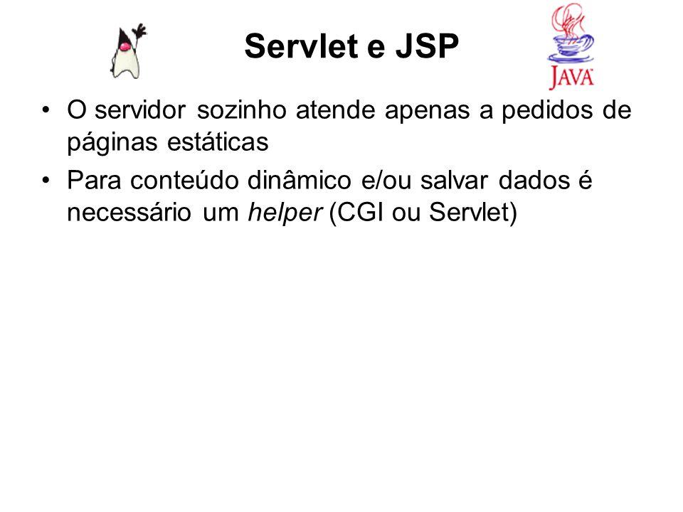 O servidor sozinho atende apenas a pedidos de páginas estáticas Para conteúdo dinâmico e/ou salvar dados é necessário um helper (CGI ou Servlet) Servl