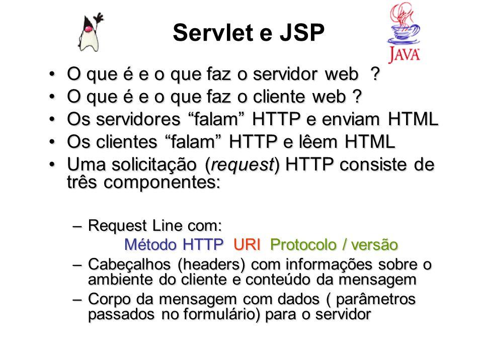 Servlet e JSP O que é e o que faz o servidor web ?O que é e o que faz o servidor web ? O que é e o que faz o cliente web ?O que é e o que faz o client