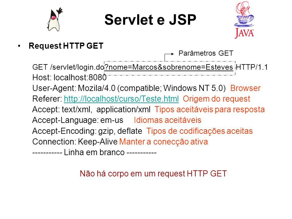 Anatomia de uma solicitação HTTP POST Teste.html Página de Login http://localhost:8080/servlet/login.do Nome: Sobrenome: <input type=text name=sobrenome/> URL=http://localhost:8080/servlet/login.do Não há query string no HTTP POST Servlet e JSP