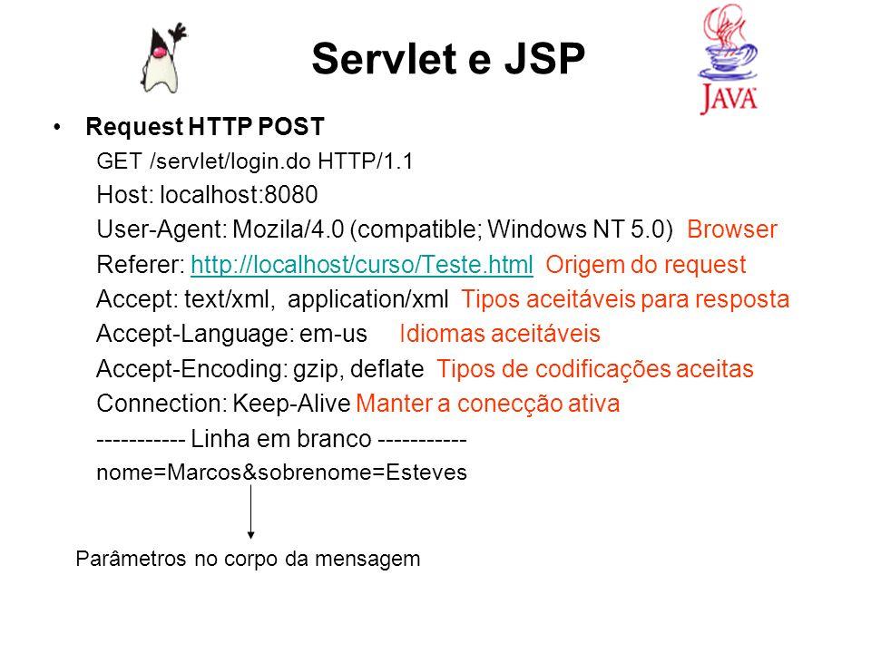 Servlet e JSP Anatomia da resposta HTTP: Composta de Status line, Header e Corpo, a Status line informa ao browser a versão do protocolo HTTP, o código de status da solicitação e sua descrição.