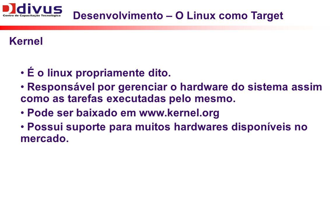 Desenvolvimento – O Linux como Target É o linux propriamente dito. Responsável por gerenciar o hardware do sistema assim como as tarefas executadas pe