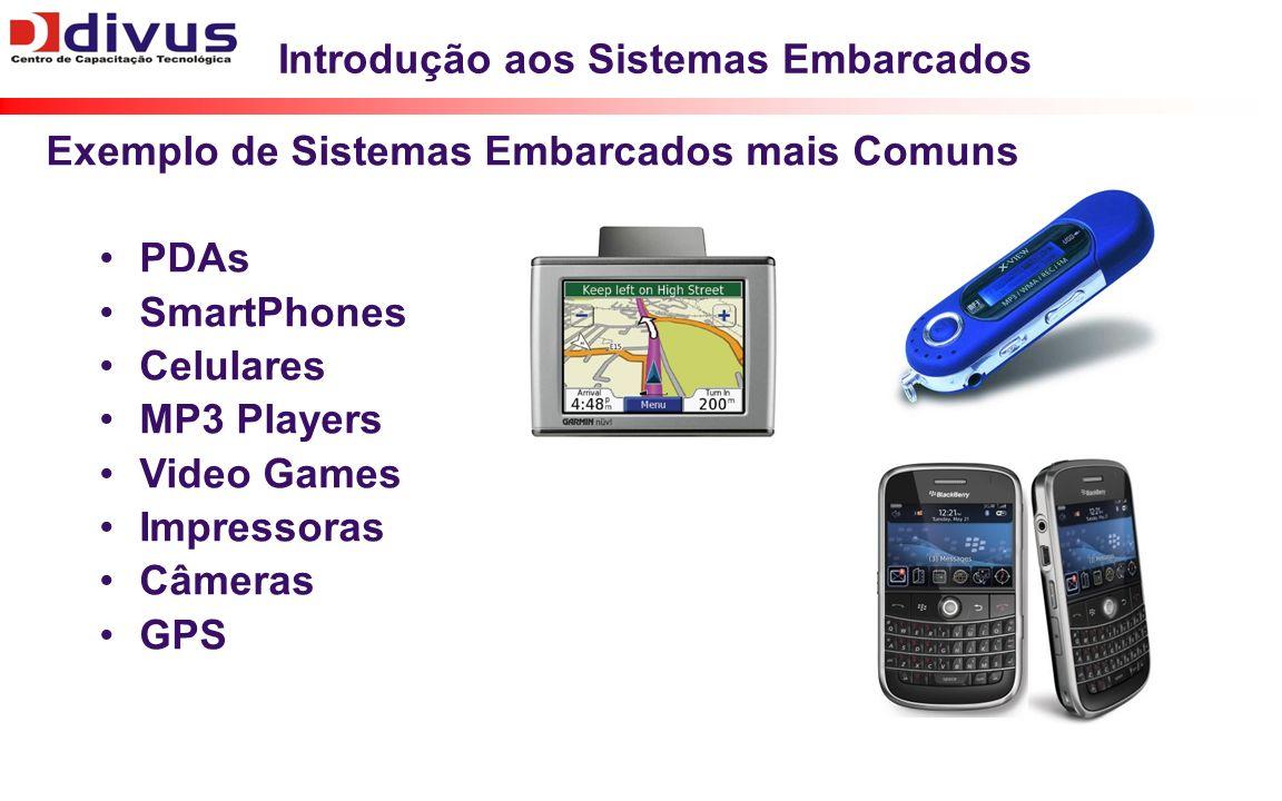 Introdução aos Sistemas Embarcados Exemplo de Sistemas Embarcados mais Comuns PDAs SmartPhones Celulares MP3 Players Video Games Impressoras Câmeras GPS