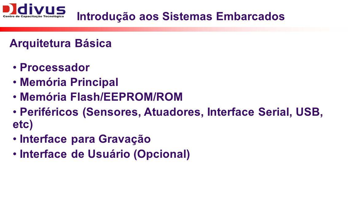 Introdução aos Sistemas Embarcados Processador Memória Principal Memória Flash/EEPROM/ROM Periféricos (Sensores, Atuadores, Interface Serial, USB, etc