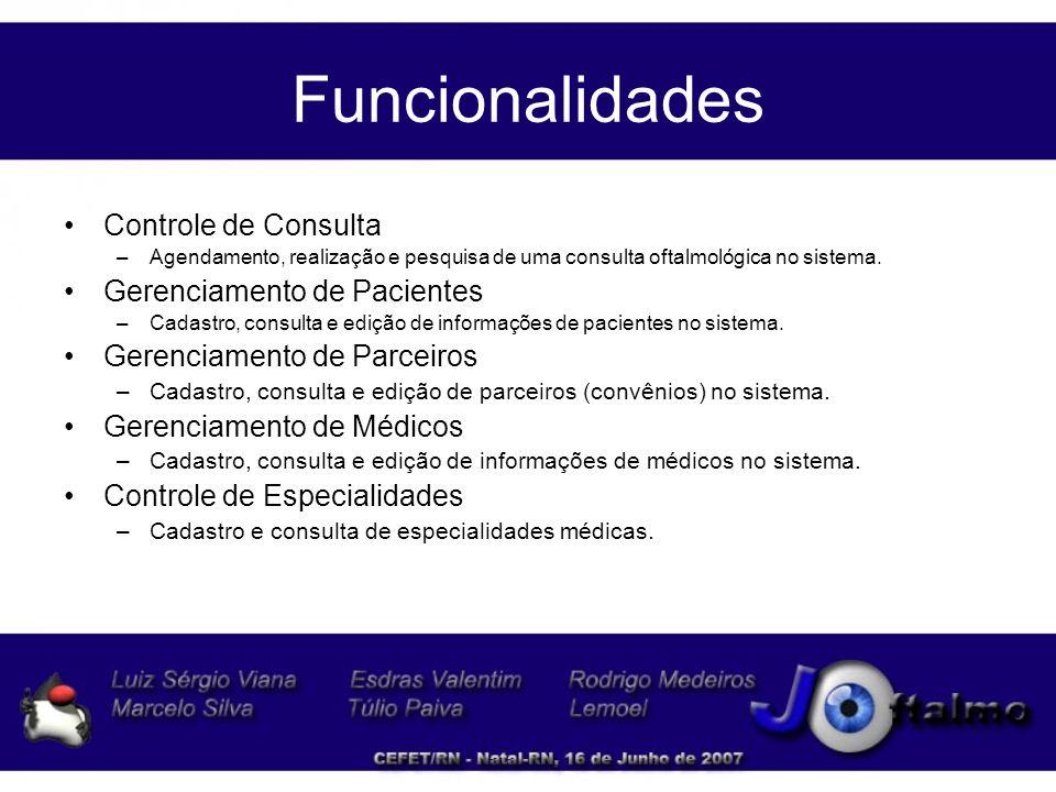 Funcionalidades Controle de Acesso –Agendamento, realização e pesquisa de uma consulta oftalmológica no sistema.