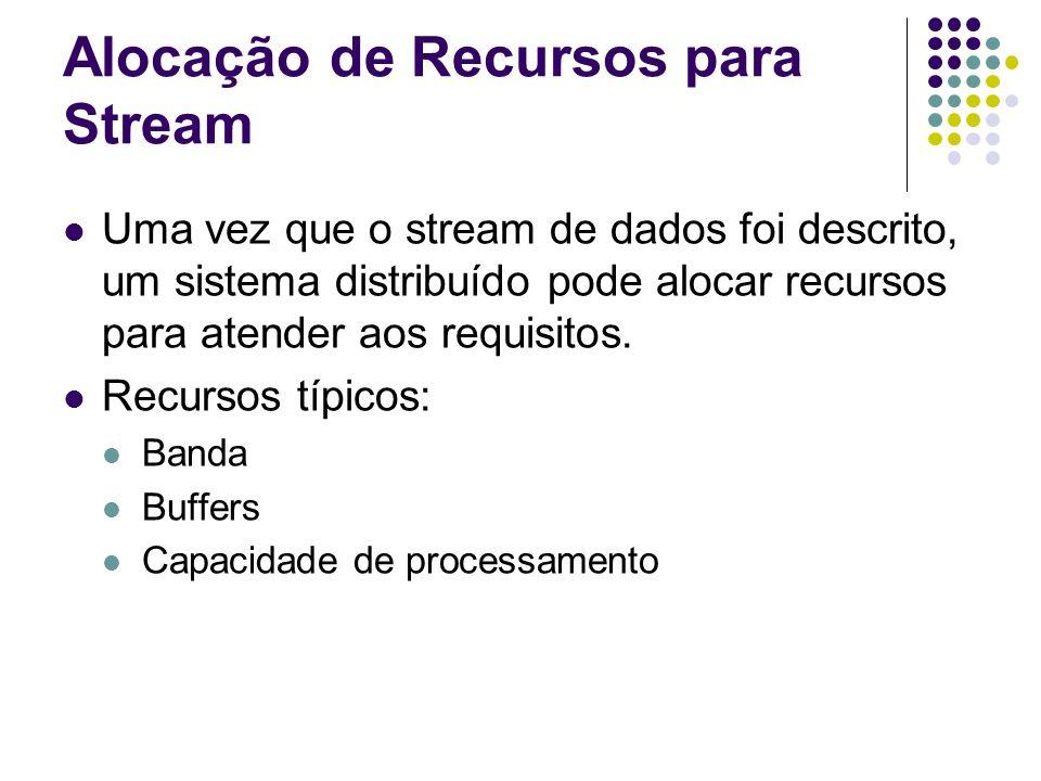 Alocação de Recursos para Stream Uma vez que o stream de dados foi descrito, um sistema distribuído pode alocar recursos para atender aos requisitos.