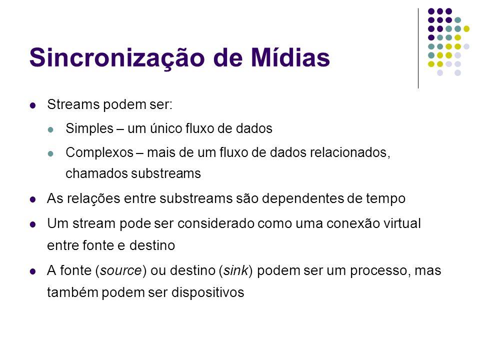 Sincronização de Mídias Streams podem ser: Simples – um único fluxo de dados Complexos – mais de um fluxo de dados relacionados, chamados substreams A