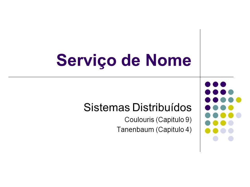 Serviço de Nome Sistemas Distribuídos Coulouris (Capitulo 9) Tanenbaum (Capitulo 4)