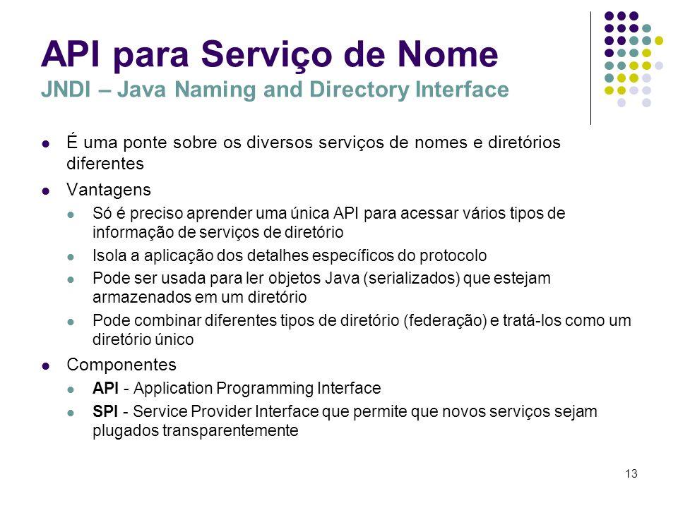 13 API para Serviço de Nome JNDI – Java Naming and Directory Interface É uma ponte sobre os diversos serviços de nomes e diretórios diferentes Vantage