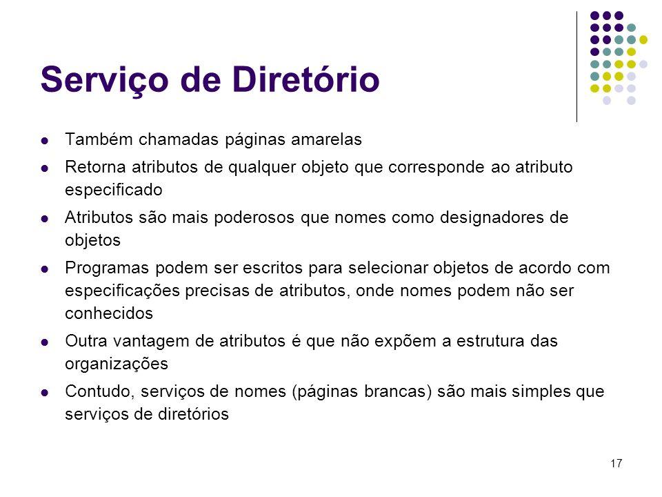 17 Serviço de Diretório Também chamadas páginas amarelas Retorna atributos de qualquer objeto que corresponde ao atributo especificado Atributos são m